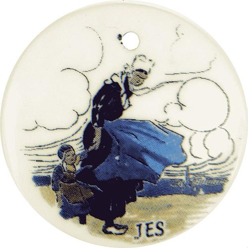 Six fèves reproduisant des assiettes de Jim Eugène Sévellec