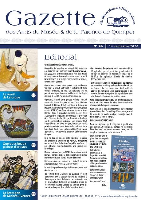 Gazette des Amis du Musée et de la Faïence de Quimper n°46 (1er semestre 2020).
