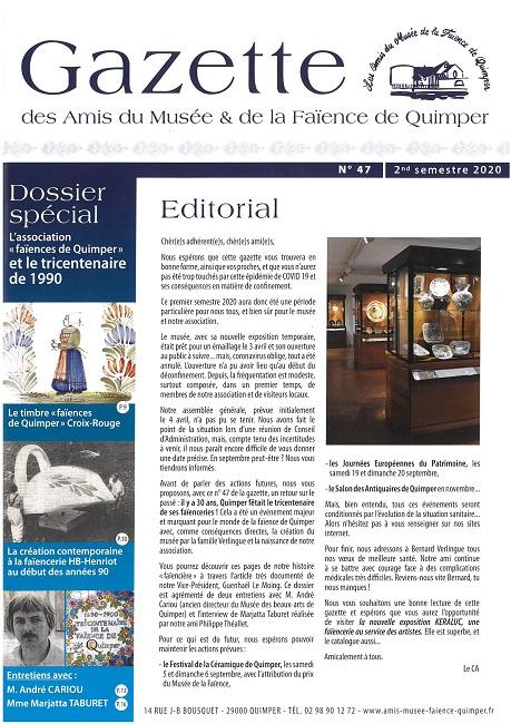 Gazette des Amis du Musée et de la Faïence de Quimper n°47 (2ème semestre 2020).