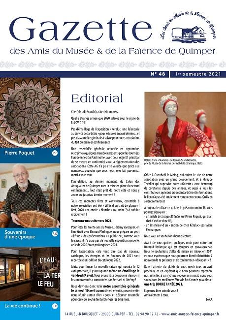 Gazette des Amis du Musée et de la Faïence de Quimper n°48 (1er semestre 2021).