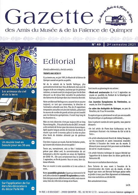 Gazette des Amis du Musée et de la Faïence de Quimper n°49 (2ème semestre 2021).